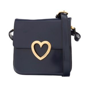 Moschino Navy Blue Patent Leather Bag